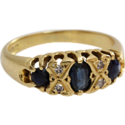 Edwardian Sapphire Diamond Ring | 18K Yellow Gold | Antique Blue 18ct