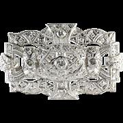 Edwardian Diamond Platinum Brooch   French Art Nouveau   Antique Pin