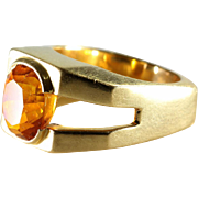 Orange Sapphire Mens Ring | 18K Yellow Gold | Vintage Oval Solitaire