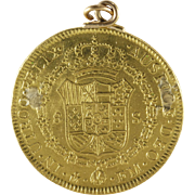 Doubloon Gold Coin Pendant | 1772 Eight Escudos  | Antique Mexico 21K