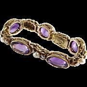 Victorian Amethyst Bracelet   14K Gold Seed Pearl   Antique Link