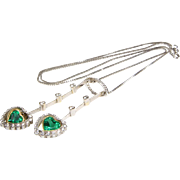 Emerald Diamond Pendant Necklace | 18K Bicolor Gold | Vintage Hearts