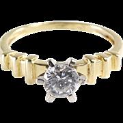 Cubic Zirconia Engagement Ring   14K Yellow Gold   Vintage Diamond CZ