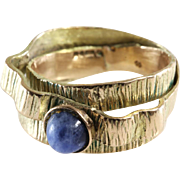 Retro Sodalite Cocktail Ring   9K Yellow Gold   Blue Cabochon Vintage