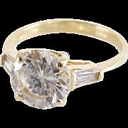 Cubic Zirconia Engagement Ring   14K Gold Brilliant   Vintage Diamond
