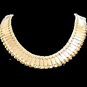 18K Gold Fringe Necklace   Retro Vintage French   Bib Yellow Collier