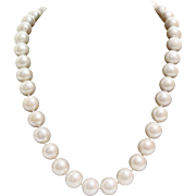 Pearl Collar Necklace | White Cultured Vintage | 14K Yellow Gold Pink