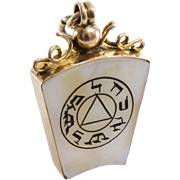 Edwardian Masonic Pendant | 9K Gold Agate | Holy Royal Arch Antique