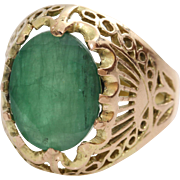 Retro Emerald Cocktail Ring | 14K Yellow Rose Gold | Vintage Russia