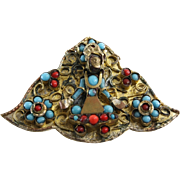 Tibetan Pendant Brooch   Turquoise Coral Buddha   Vintage Amulet Pin