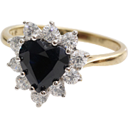 Sapphire Heart Halo Ring | 9K Bicolor Gold | Vintage Cubic Zirconia