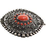 Coral Silver Brooch | Filigree Cannetille Italy | Vintage Coin 800