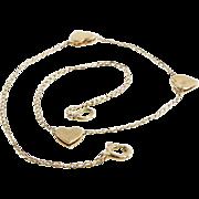 Gold Heart Bracelet   14 Karat Yellow   Link Chain Vintage USA 14K