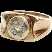Mens Retro Diamond Ring | 14K Yellow Gold | Vintage Gents Brilliant Cut