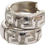 White Gold Hoop Earrings | 14K Vintage Latch Back | Round Greek Key