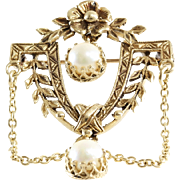 Retro Pearl Brooch Pendant | 14K Yellow Gold | Cultured Vintage Pin