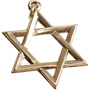 Magen David Pendant | 14K Yellow Gold | Star Charm Vintage Israel