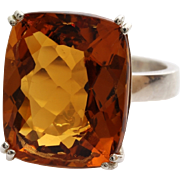 Madeira Citrine Ring | Sterling Silver Vintage | Cocktail Red Brown