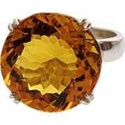 Citrine Cocktail Ring | Sterling Silver Vintage | Orangy Yellow Israel
