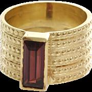 Rubellite Tourmaline Cocktail Ring | 14K Yellow Gold | Vintage Retro