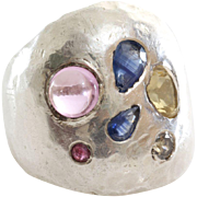Sapphire Ruby Cocktail Ring   Fancy Diamond Silver   Vintage Israel