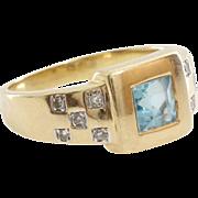 Aquamarine Diamond Ring | 8K Yellow Gold | Vintage Square Cut Cocktail