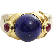 Lapis Lazuli Ruby Ring | 18K Bicolor Gold | Vintage Cocktail Italy