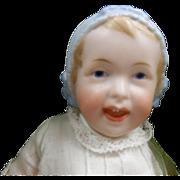 SOLD Antique German Bisque Bonnet Head Baby By Recknagel