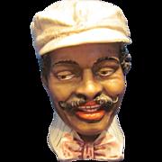 Antique Black Americana Majolica Tobacco jar Humidor