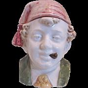 Majolica Figural Tobacco Jar/Humidor