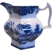 "Flow Blue ""Shapoo"" Pitcher"