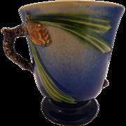 Roseville Pottery Blue Pine Cone Mug