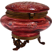 Moser Cranberry Dresser Box