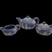 Vintage Wedgwood Light Blue Teapot,Creamer and Sugar