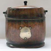 SOLD Solid Oak English Biscuit Barrel - Bead Trim - Circa 1940