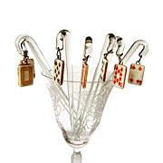 SALE Vintage Glass Stirrers with Playing Cards Charm
