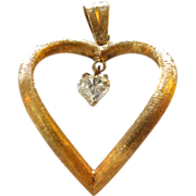 14K yellow florentine gold 3 prong hanging heart shaped diamond