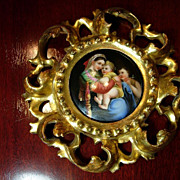 Hand Painted Icon in Gilt Rococo Frame