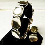 Fabulous  Sterling  Napier Bracelet and Earring  Set
