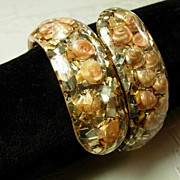 Seashshell and Gold Confetti Lucite Clamper Bracelet