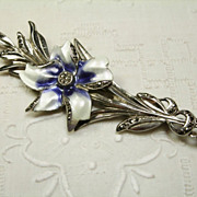 "3 3/4""  Enamel and Marcasite Sterling Silver Flower Brooch"