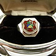 1952 Crested Enamel Sterling Ring