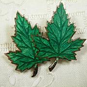 Lg. Signed Sterling Silver and Enamel Maple Leaf Brooch