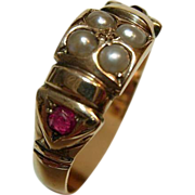 Victorian 14K Ruby and Pearl Ring
