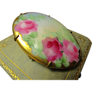 Victorian Hand Painted Porcelain Brooch