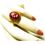 Chinese Gilt Silver Cinnabar Filigree Ring