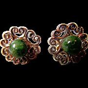Jade and 14K Gold Earrings