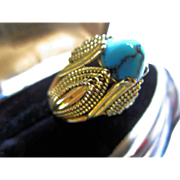 14K Yellow Gold and Turquoise Ring - Stunning!