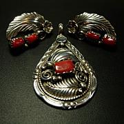 Native American  Coral + Sterling Pendant + Earrings