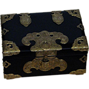 Occupied Japan Lacquered Box With Brass Trim